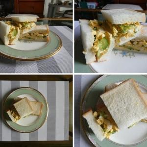 男の料理~我が家の昼ごはんは、キュウリ入りたまごサンド&玉ねぎのピクルスとキュウリ、ハム、チーズ入りサンド~