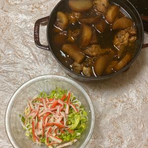 手羽元と大根の煮込みと春キャベツとカニカマのサラダ