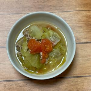 グリーンボールと豚肉とトマトの貝柱スープ煮