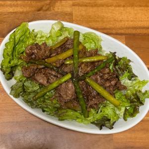 牛肉とアスパラのオイスター炒め