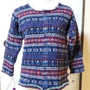 フェアアイルカーディガン 聖夜 袖編み上がり