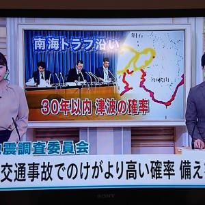 交通事故で負傷する率よりも高い南海トラフ巨大地震の確率 ( 大潟神社の津波到達石碑 )