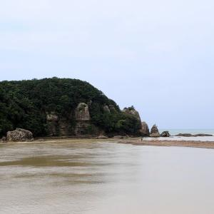富田川と高瀬川の合流河口付近にあるカラス岩と対の島 ( 丸山 )