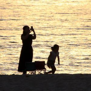 白良浜で眺めた久し振りの夕日と夕焼け そして虹