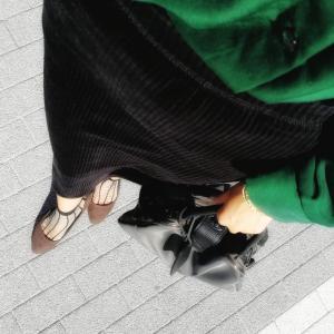 ロング丈のコーデュロイスカートを使った30代ママのきれいめカジュアル秋冬コーデ♪