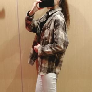 オーバーサイズのビッグチェックシャツを使った30代ママの着回し冬コーデ♪
