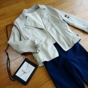 プチプラで柔らかいライダースジャケット♪スカートにもパンツにも合わせやすい万能春アウター。