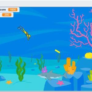 スクラッチでオリジナルゲーム作った。サメ退治のスキューバダイバー。