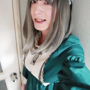 緑のロリィタ風衣装で変身(おうち女装)☆その2