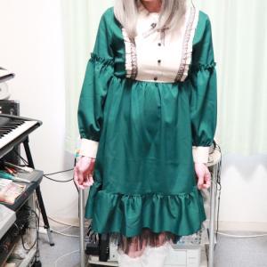 緑のロリィタ風衣装で変身(おうち女装)☆その3