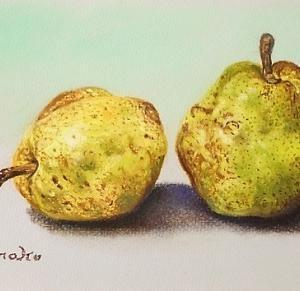 小作品「ラフランス」と「柿の葉」