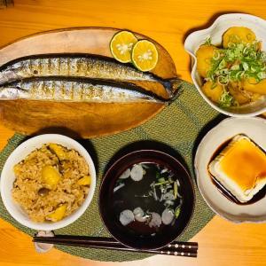 栗ごはんと秋刀魚定食❤️