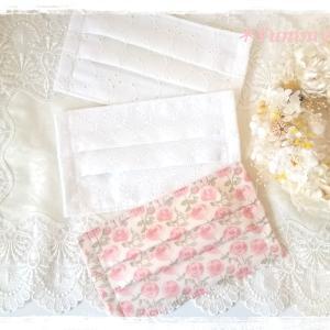 オーダー品♪リバティ☆ローズマリー&コットンレースの乙女なホワイトマスク♪