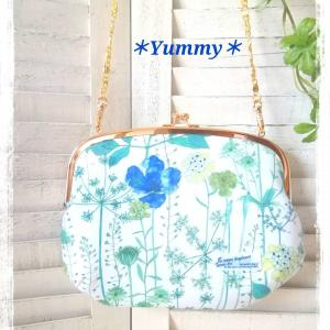 リバティ☆イルマ(ブルー)☆大きながま口バッグ♪