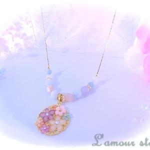 パステルアクアマリン&水晶 春色ネックレス