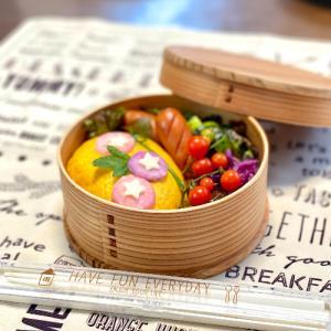 朝顔のデコ弁☆野菜☆ニャンズLOVE