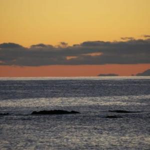 夕方の遠い海