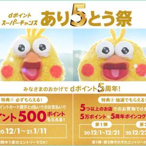 12/1~1/11【dポイント5周年記念】600円以上のお買いもので500円分貰える♡