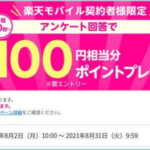 時間差でメール到着&シートマスク【半額】~楽天モバイル契約者もれなく100円分貰えるアンケート