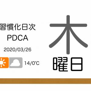 この習慣化日次PDCAは、当初の予定通り1,000日目をゴールとする[習慣化日次PDCA 2020/03/26]