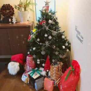 玄関のクリスマスツリーにサンタさんが来た