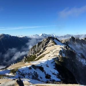 ▲燕岳・山頂からの山座同定/燕山荘/2019年11月