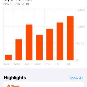 1日1万歩♪ 先週は85%まで回復。