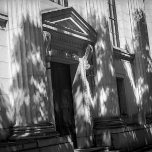 晩夏の光蜥蜴を宿す古き銀行