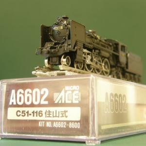 新規入線車両(マイクロエース C51形蒸気機関車・住山式)。