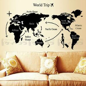 スペイン、日本がない世界地図ーウォールステッカー