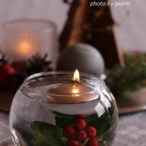 100均ガラスに浮かべて沈めて素敵なクリスマスインテリア♪