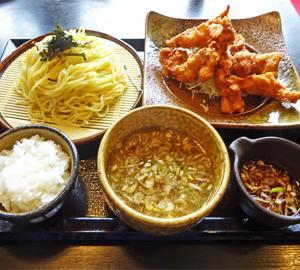 ランチ日記:鶏のから揚げユーリンチ風と濃厚つけ麺のセット