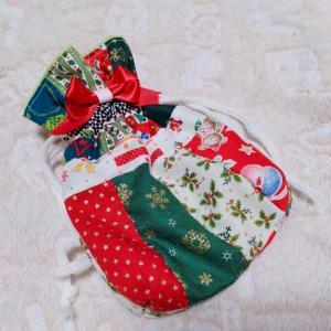 では クリスマス巾着を