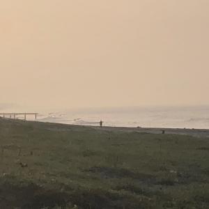 早朝から暑い早朝サーフィン日和