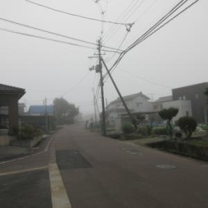霧の朝は気温13度