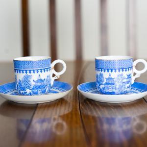 ラスト【ヴィクトリア時代】ロイヤルウースター ウィローパターン デミタスカップ&ソーサー ペア おまけつき