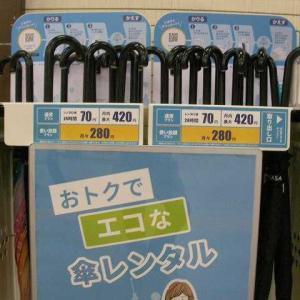 傘のレンタル(JR山手線目黒駅)