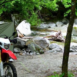 雨の白州キャンプツーリング