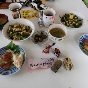 ニラ玉丼 と 八宝菜&ミニトマト