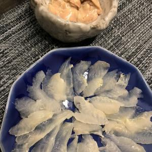豊浜産 カワハギの刺身 肝醤油