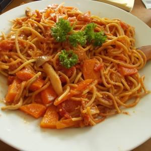 ヴィーガン・鶏肉もどき&切り干しトマトスパゲティ