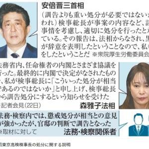 黒川処分「首相官邸が実質決定 法務省は懲戒と判断」= 身内の司法取引