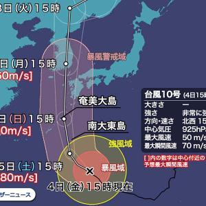 瞬間風速80m超どれほど危険か = 新幹線並み風速「特別警報級」台風10号