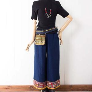 【新着商品】華やか裾♪モン族刺繍ヘムのワイドパンツと便利なモン族ポケットベルト