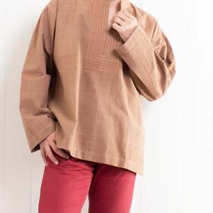 【秋色プルオーバーシャツ】ブラウンカラーが秋に似合う メンズプルオーバーシャツ