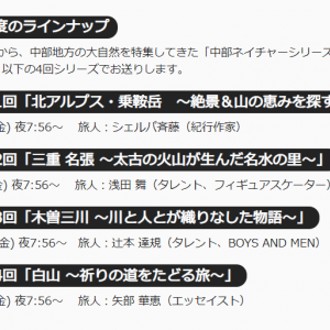 NHK「中部ネイチャーシリーズ」に出演します