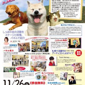 11/26「2019保護犬猫フェスタin北海道 make a smile project」開催!♪