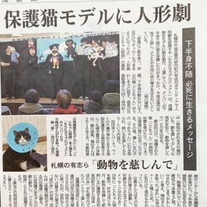 12/13付北海道新聞朝刊に「保護猫人形劇」の記事