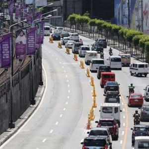 フィリピン エドサ通りで飲酒検問。ブロックとの接触事故が頻発。。。