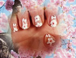 手描きで桜ネイル